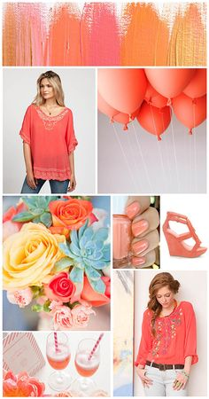 Going Coral  Love these colors with turqouise (can never spell that word...hit or miss..2day a miss.lol) Thrown in where appropriate.