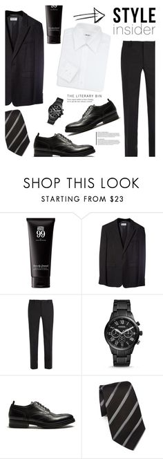 """""""Black Suit!"""" by colierollers ❤ liked on Polyvore featuring Yves Saint Laurent, Balenciaga, FOSSIL, Alexander McQueen, Giorgio Armani, Brioni, men's fashion and menswear"""