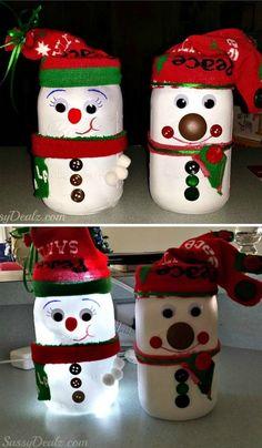 DIY Snowman Mason Jar Light