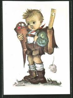alte Künstler-AK Hummel: Kleiner Junge mit Schultüte am ersten Schultag in Sammeln & Seltenes, Ansichtskarten, Motive | eBay
