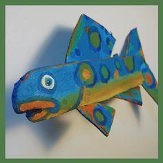 HANGING FISH Art  Funky Colorful Blue Green Orange by FISHeFISH, $38.00