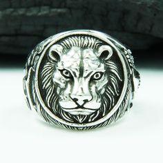 LION KING 925 STERLING SILVER US Size 12.5 BIKER ROCKER GOTHIC RING #Handmade