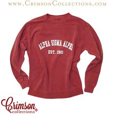 Alpha Sigma Alpha Comfort Colors Unisex sweatshirt now available at Crimson Collections!!