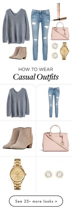 """Casual but Cute"" by martin-annakate on Polyvore featuring Current/Elliott, Golden Goose, Michael Kors, Lacoste and By Terry"