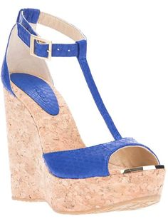 Jimmy Choo Blue 'Pela' Sandals €266 SS2014 #Shoes #JimmyChoo #Wedges