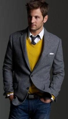 Business casual: mustard color combined with greys and graphites -- adds pop yet remains professional. Jeans or dark pants.
