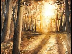 Realistic Forest in Watercolors Painting Tutorial - YouTube