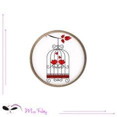 BIRDS IN LOVE - - cabochon ring - bague cabochon - #Cabochons #brass #laiton #glass #verre #retro #vintage #rings #bagues #birdcage #cage à oiseaux #love #amour
