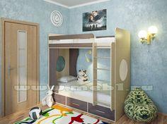 Детская двухъярусная кровать МИЛАНА-1 (Дуб/Венге)