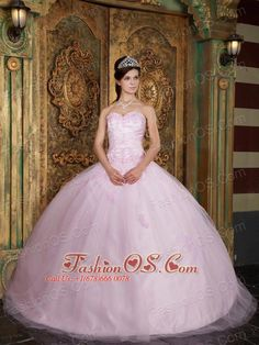 4641ff4e863 Buy appliqued baby pink sweetheart floor length sweet 15 dress in tulle  from light pink quinceanera dresses collection