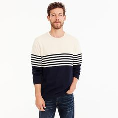 men's cotton crew neck sweater in colorblock stripe - men's sweaters Boys Sweaters, Men Sweater, Cashmere Sweaters, Mens Suits, J Crew, Man Shop, Mens Fashion, Pullover, My Style