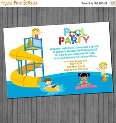 ON SALE Water Slide Pool Party Invitation Printable You Print