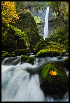"""Elowah Falls"" - Columbia River Gorge, Oregon (by Justin Reznick)"