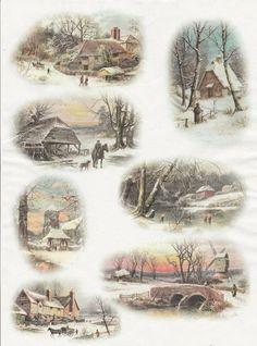 Rice Paper for Decoupage Decopatch Scrapbook Craft Sheet Vintage Winter Cottage