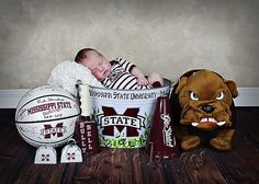 Newborn Boy ~ Mississippi State ~ Bulldogs ~ Creative Images Photography ~ Meridian, MS but needs to be football and/or baseball Newborn Pictures, Baby Pictures, Baby Photos, Baby Kids, Baby Boy, Mississippi State Bulldogs, Sports Baby, Baby Footprints, Newborn Poses
