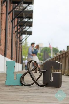 Spring Engagement Photo with Initials