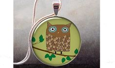 Retro Brown Owl art pendant charm  owl by thependantemporium, $8.95 - is this the one?