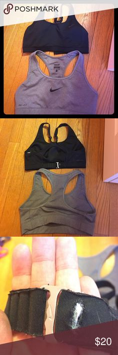 Two Nike sports bras Two Nike sports bras for $20. Black one is x-small and gray one is small. Both in great condition other than a little hole on the back of the black one, it can be fixed with some stitching though. Nike Intimates & Sleepwear Bras