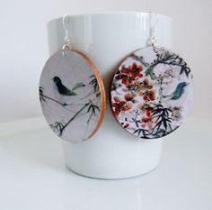 Bird Wood Earrings 925 by UniquelyUJewellery on Etsy