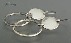 Silver Earrings, Dangle Earrings, Hoop Earrings,  Sterling Silver, Handmade, Metalsmith Jewelry, Statement Earrings