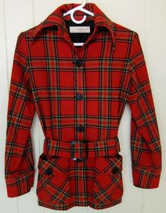 Young Pendleton Women's 5/6 XS Red Plaid  Belted Wool Blazer Jacket Top #Pendleton #Blazer