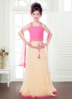 Admirable Cream And Pink Net Kids Lehenga Choli