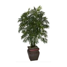Mini Bamboo Palm With Decorative Vase Silk Plant ** Visit the image link more details.