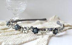 Vintage Blue Rhinestone Headband Blue and Grey by JillsBoutique