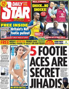 Daily Star 5 footie aces are secret jihadis 26 Jan 2015