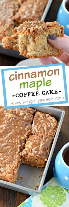 This sweet Cinnamon Maple Coffee Cake recipe is the perfect breakfast solution! With a slightly chewy texture like a cinnamon roll, it's the maple glaze and streusel topping that wins you over! Made with yeast! Breakfast Cake, Perfect Breakfast, Baking Recipes, Cake Recipes, Dessert Recipes, Cupcakes, Cupcake Cakes, Shugary Sweets, Coffee Recipes