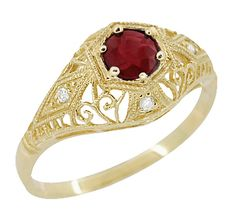 Edwardian Ruby and Diamonds Scroll Dome Filigree Engagement Ring in 14 Karat Yellow Gold $710.00 http://www.antiquejewelrymall.com/r471y.html