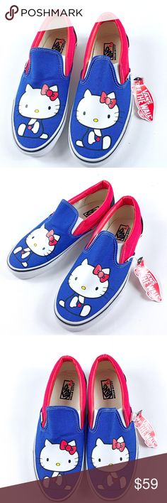 Vans Hello Kitty Slip On RARE Vans Hello Kitty Collection Rare and Collectible Brand new no box Sizes: Men 8/ Women 9.5 Men 5.5/ Women 7 (missing Price tag) Vans Shoes Sneakers