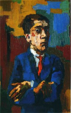 Self-portrait with crossed arms, 1923 by Oskar Kokoschka (Austrian 1886-1980)                                                                                                                                                                                 More