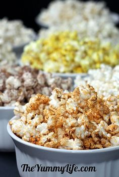 10 Healthy Microwave Popcorn Recipes; sweet and savory flavors, 100 calories or less. TheYummyLife.com