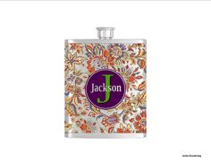 Personalized Flask Name Monogram Paisley by BottomsUpFlasks