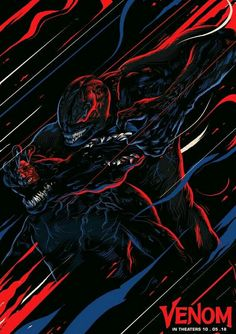 This is my attempt to portray the drama of the fighting scene. I have used this colour scheme to give sci-fi feel to the artwork. Marvel Comics, Marvel Venom, Venom Art, The Venom, Venom Pictures, Venom 2018, Alien Tattoo, Superhero Characters, Marvel Wallpaper