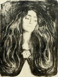 silenceforthesoul:Edvard Munch - The Brooch. Eva Mudocci, 1903