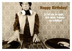 retro postkarte happy birthday oma am dj pult