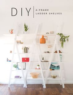DIY A-Frame Ladder Shelves | This project is so simple you won't believe it! Add this statement piece to your living room or dining room decor or just add some extra cute storage! | Vintage Revivals #diystorage #diyhomedecor #vintagerevivals