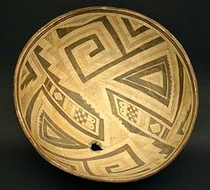 Mimbres Black-on-White Geometric Bowl, Southwest Native American Indian Art