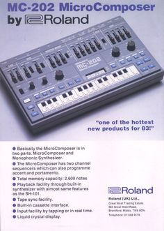 Roland MC 202: 1982's hottest product! Music Production Equipment, Recording Equipment, Audio Equipment, Drum Machine, Audio Sound, Vintage Keys, Sound Waves, Sound Effects, Electronic Music
