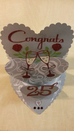 25th anniversary card used Storybook, stretch your imagination, picturesque and lyrical letters cricut cartridges