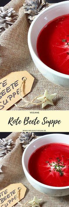 Super schnell gemachte und mega leckere Rote Bete / Beete Suppe (vegan, milchfrei, lactosefrei). Tolle Vorspeise für euer Weihnachtsmenü, lässt sich super vorbereiten