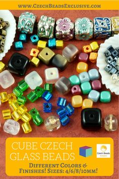 ?Cube Czech Glass Beads and Charms  Different Colors & Finishes! 4/6/8/10mm and cube seed beads! - Buy now with discount! www.CzechBeadsExclusive.com/+cube  Hurry up - sold out very fast! SAVE them! #czechbeadsexclusive #czechbeads
