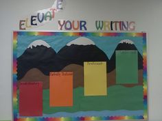 """""""Elevate your writing"""" bulletin board.  It's ready for exemplars! Writing Bulletin Boards, Grade 1, School Ideas, Classroom, Class Room"""