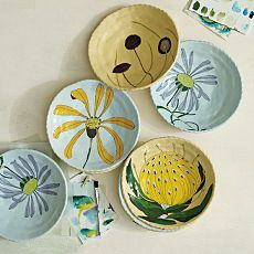 South African Artist,Gemma Orkin Floral Serving Bowls, now available at West Elm.