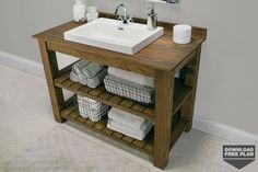 Free Plan: Rustic Bathroom Vanity