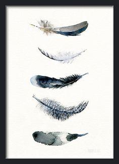 Feather art print from original watercolor painting by TheClayPlay Zu kaufen auf besondersschön am 22. März in Hamburg