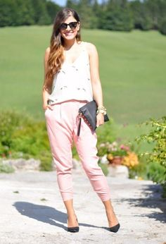 @roressclothes closet ideas #women fashion V-neck Top with Pink Baggy Pants for Summer