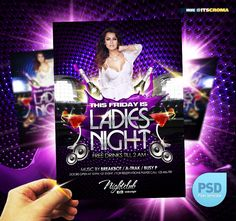 Buy Ladies Night Party Flyer by itscroma on GraphicRiver. Ladies Night Party Flyer Template A Flyer template that will suit your party, event, summer festival, gig, or nightcl. Free Psd Flyer, Free Flyer Templates, Event Flyer Templates, Flyer And Poster Design, Flyer Design, Ladies Night Party, Picture Folder, Club Flyers, Club Parties
